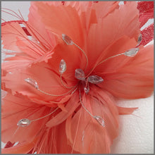Load image into Gallery viewer, Coral Feather Flower Fascinator Headpiece for Wedding Guest