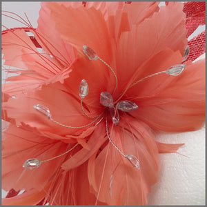 Coral Feather Flower Fascinator Headpiece for Wedding Guest