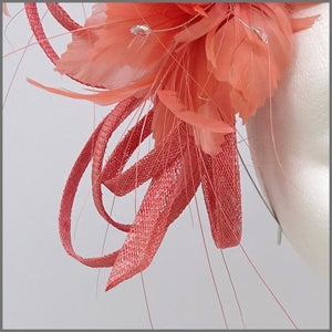 Coral Sinamay Fascinator Headpiece for Formal Event