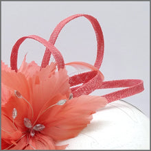 Load image into Gallery viewer, Coral Sinamay Fascinator Headpiece for Formal Event