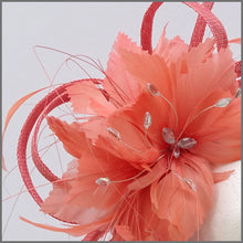 Load image into Gallery viewer, Coral Feather Flower Fascinator Headband for Races