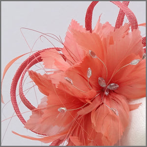 Coral Feather Flower Fascinator Headband for Races