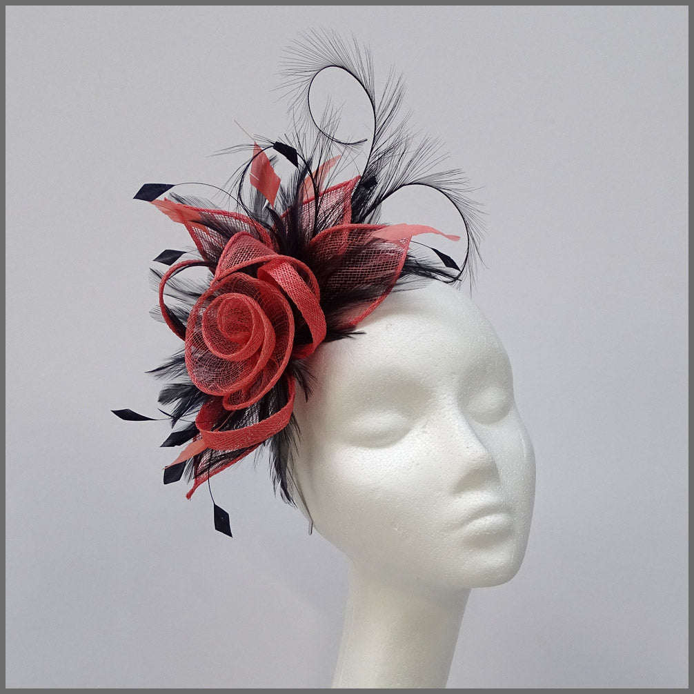 Coral & Navy Floral Rose Fascinator on Headband