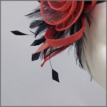 Load image into Gallery viewer, Coral & Navy Floral Rose Fascinator on Headband