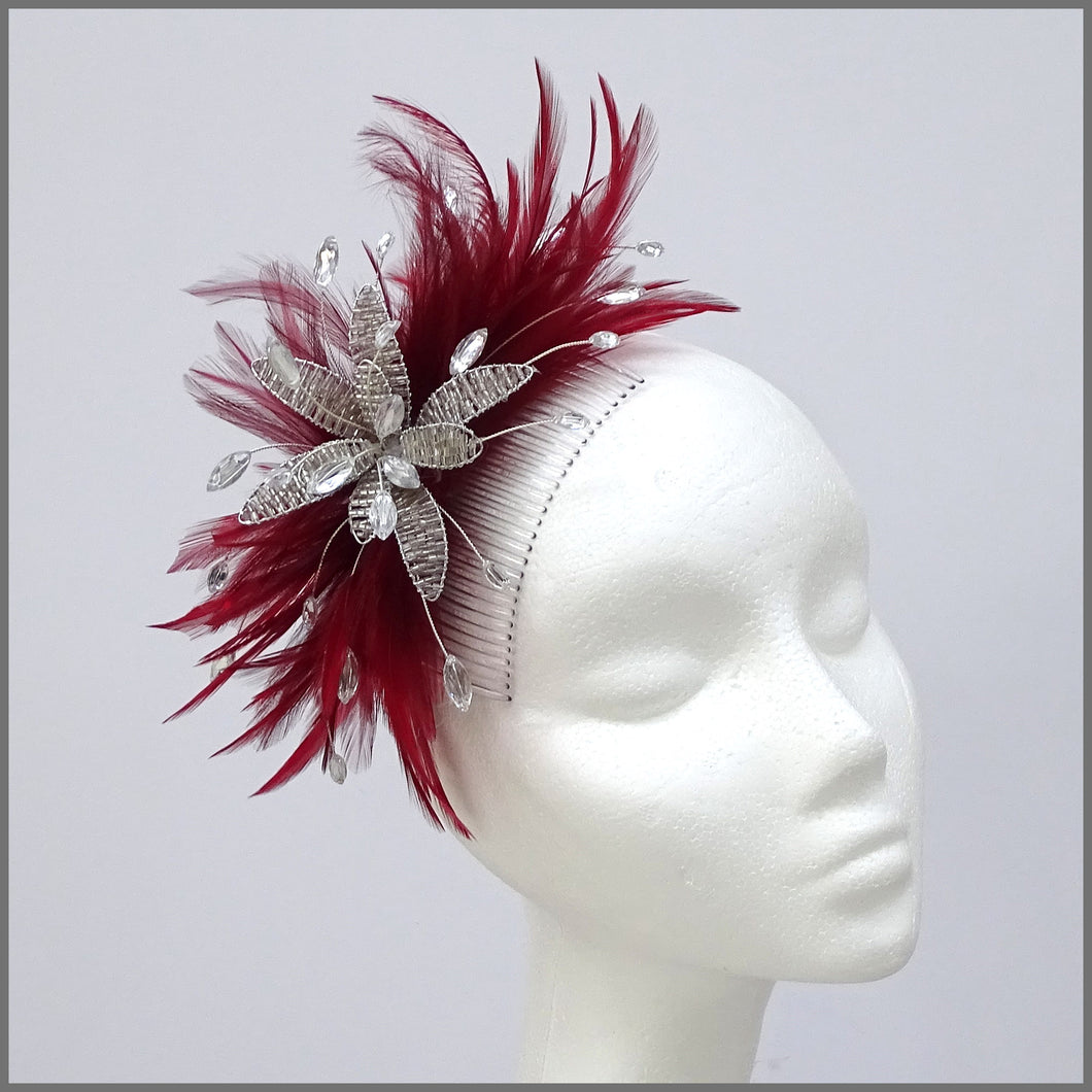 Deep Red Feather Flower Fascinator for Wedding