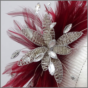 Deep Red Feather Fascinator with Bead & Crystal Flower