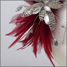 Load image into Gallery viewer, Deep Red Feather Flower Fascinator on Comb Slide