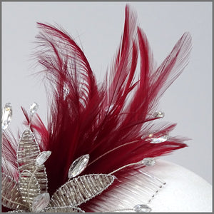 Deep Red Special Occasion Feather Flower Headpiece