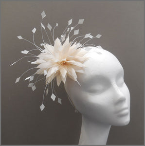 Delicate Peach & White Feather Flower Fascinator