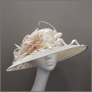 Derby Day Ladies Feather Hat in Ivory & Oyster