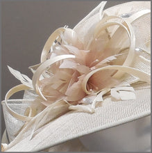 Load image into Gallery viewer, Derby Day Ladies Feather Hat in Ivory & Oyster