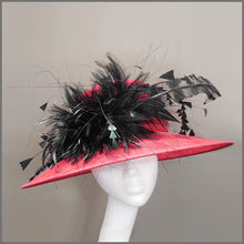 Load image into Gallery viewer, Derby Day Ladies Feather Hat in Red & Black