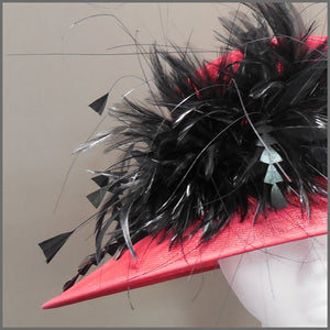 Derby Day Ladies Feather Hat in Red & Black