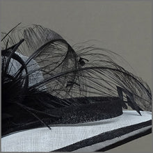 Load image into Gallery viewer, Dove Grey & Black Sinamay Feather Hat for Wedding or Ladies Day.
