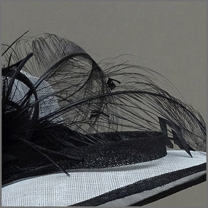 Dove Grey & Black Sinamay Feather Hat for Wedding or Ladies Day.