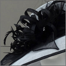 Load image into Gallery viewer, Dove Grey & Black Ladies Feather Hat for Mother of the Bride.