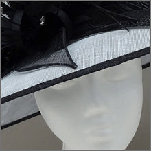Load image into Gallery viewer, Dove Grey & Black Ladies Feather Hat for Wedding, Royal Ascot or Derby Day.