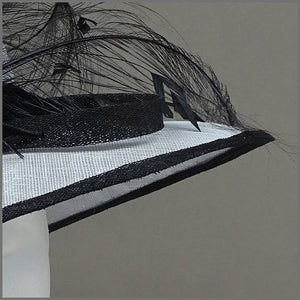 Dove Grey & Black Ladies Feather Hat for Mother of the Bride.