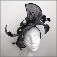 Load image into Gallery viewer, Dramatic Black Feather Hatinator for Royal Ascot