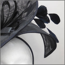 Load image into Gallery viewer, Dramatic Black Feather Disc Fascinator for Race Day