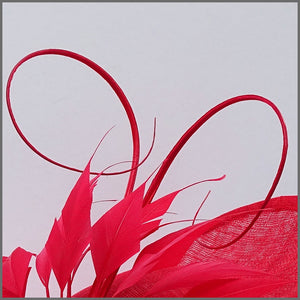 Dramatic Red Special Occasion Feather Hatinator