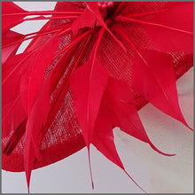 Load image into Gallery viewer, Dramatic Red Special Occasion Feather Disc Fascinator