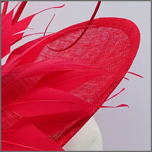 Dramatic Red Special Occasion Feather Disc Fascinator