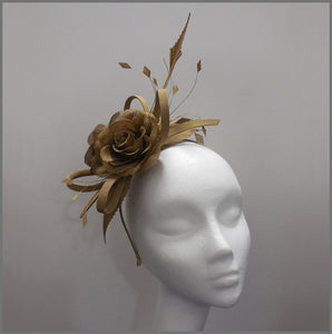 Elegant Formal Antique Gold Flower Fascinator