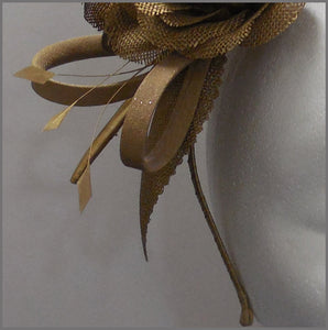 Elegant Formal Antique Gold Flower Headband