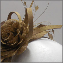 Load image into Gallery viewer, Elegant Formal Antique Gold Flower Fascinator