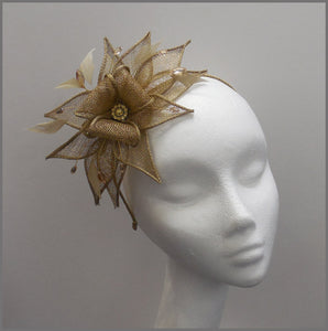 Elegant Gold Fascinator Headpiece for Weddings