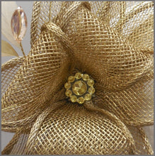 Load image into Gallery viewer, Elegant Gold Fascinator Headpiece for Weddings