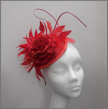 Load image into Gallery viewer, Elegant Ladies Day Red Floral Disc Fascinator
