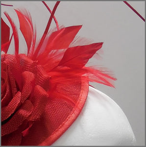 Elegant Ladies Day Red Floral Disc Fascinator