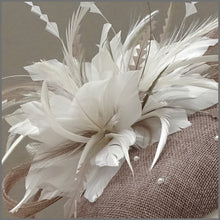 Load image into Gallery viewer, Elegant Latte & White Pearl Cocktail Party Fascinator