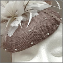 Load image into Gallery viewer, Elegant Latte & White Pearl Disc Fascinator for Formal Event