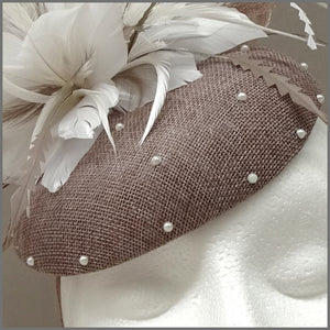 Elegant Latte & White Pearl Disc Fascinator for Formal Event