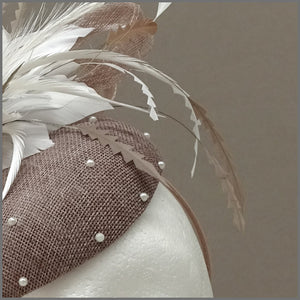 Elegant Latte & White Pearl Disc Fascinator on Headband
