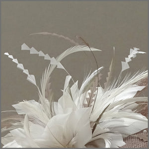 Elegant Latte & White Pearl Mini Disc Fascinator Hatinator