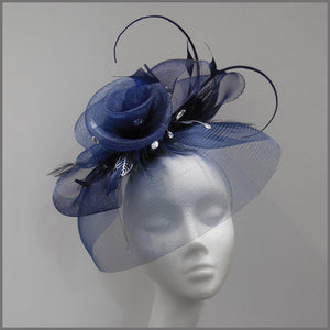 Elegant Navy Blue Floral Rose Formal Fascinator