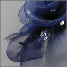 Load image into Gallery viewer, Elegant Navy Blue Floral Rose Formal Fascinator