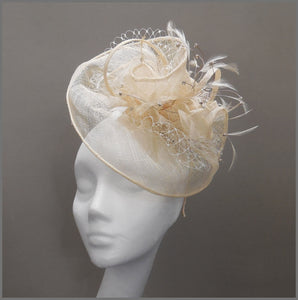 Elegant Peach Wedding Disc Fascinator with Netting