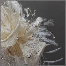 Load image into Gallery viewer, Elegant Peach Wedding Disc Fascinator with Netting