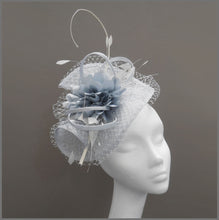 Load image into Gallery viewer, Elegant Wedding Hatinator in Silver Mist & White