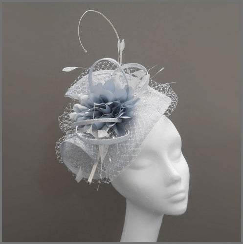 Elegant Wedding Hatinator in Silver Mist & White