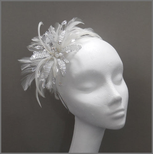 Elegant White Feather Fascinator with Crystal Flower