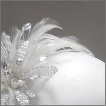 Load image into Gallery viewer, Elegant White Feather Fascinator with Crystal Flower