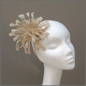 Feather Flower Occasion Fascinator in Champagne Gold