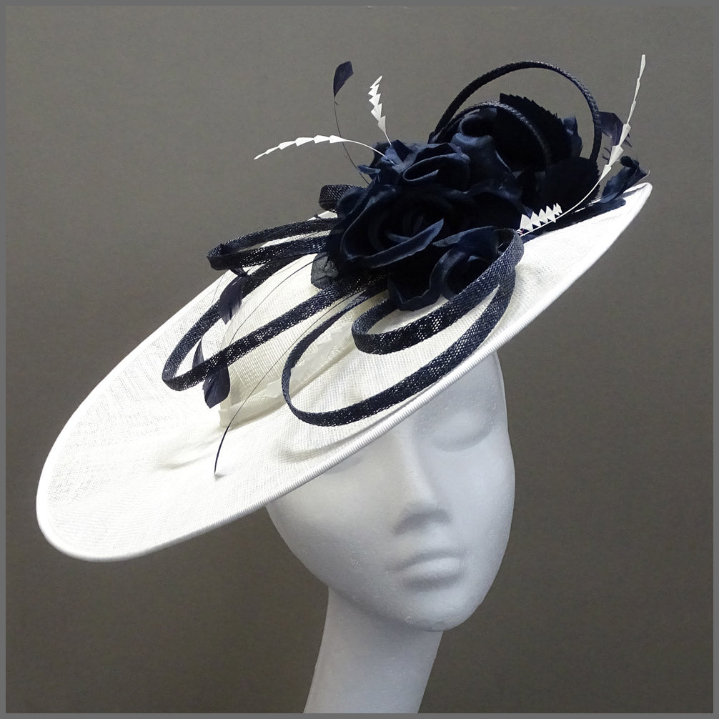 Floral Ladies Wedding Hatinator in White & Navy