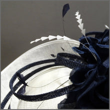 Load image into Gallery viewer, Floral Ladies Wedding Hatinator in White & Navy